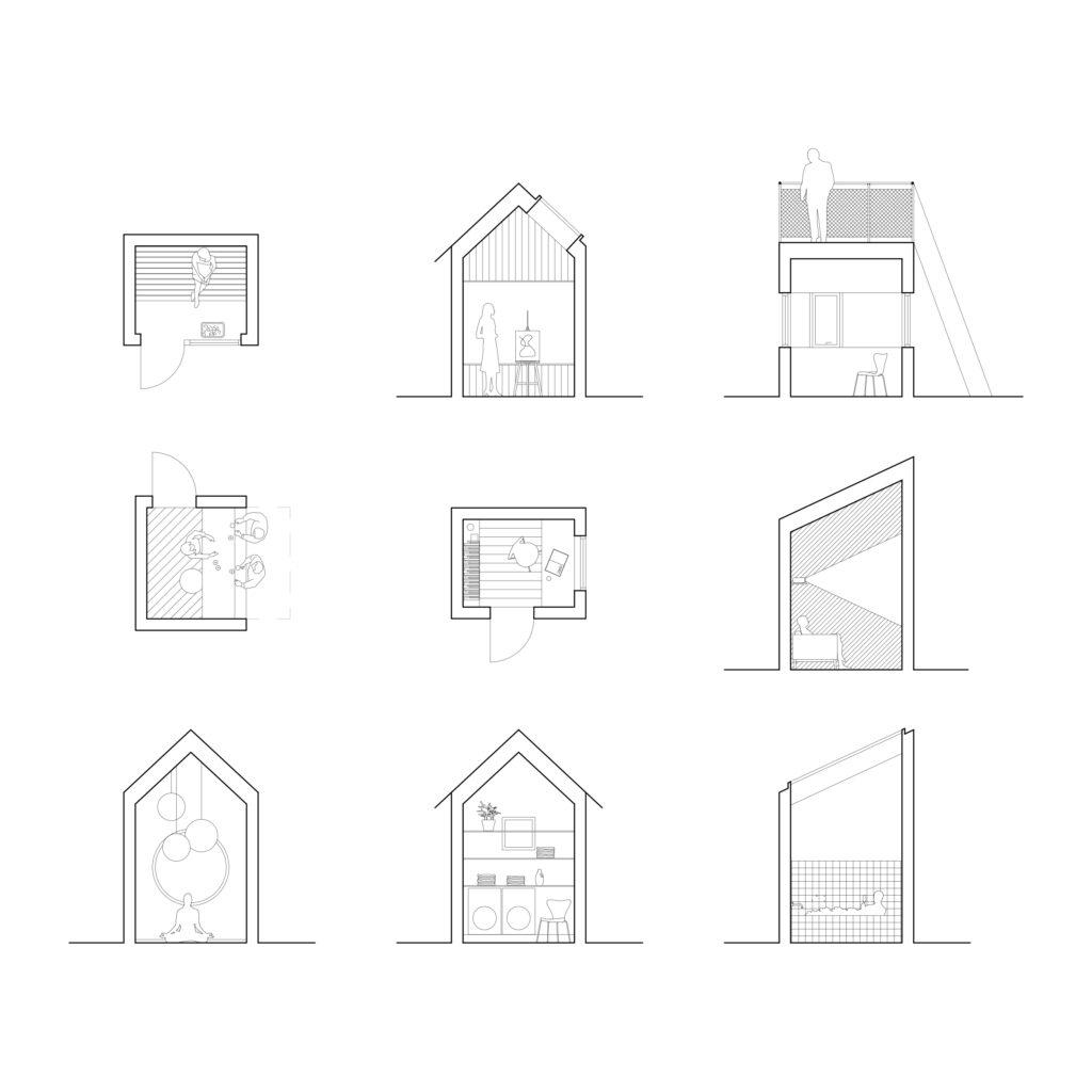 nio skisser på femkvadratshus